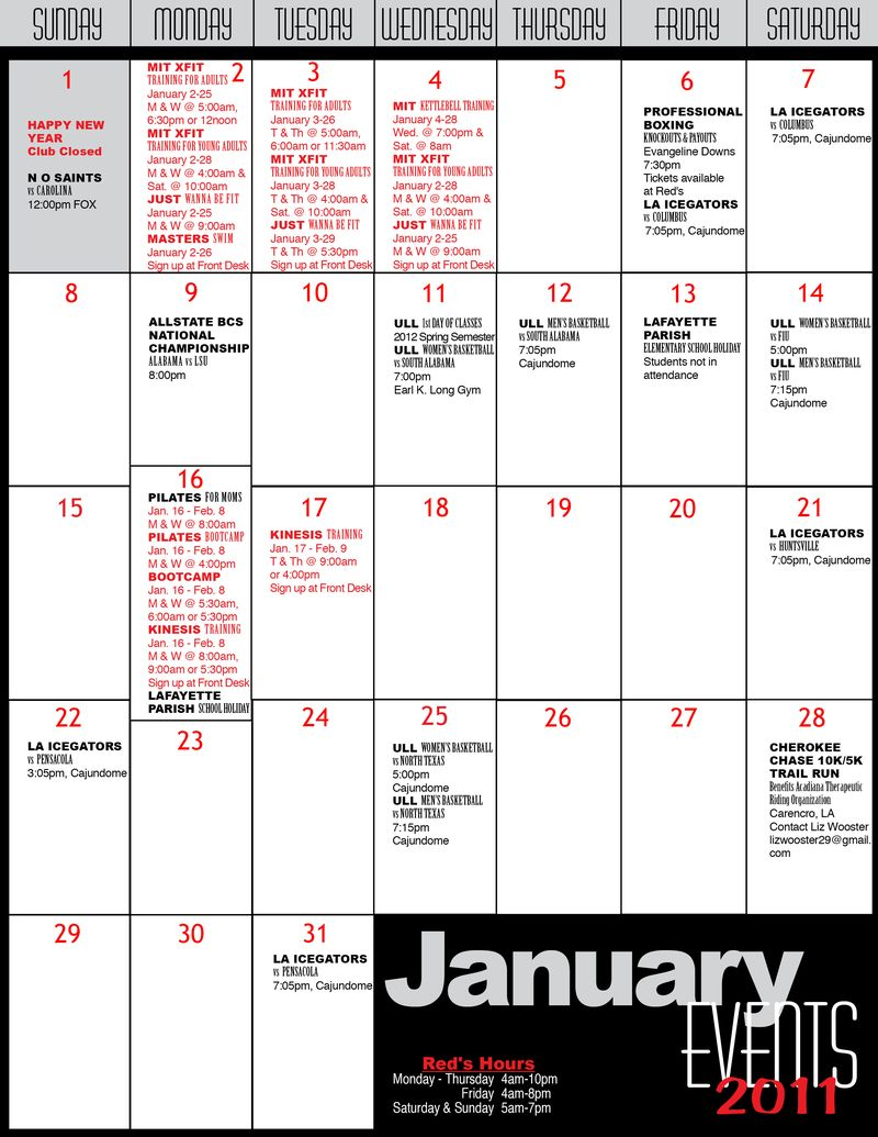 Redscalendar JANUARY 2012