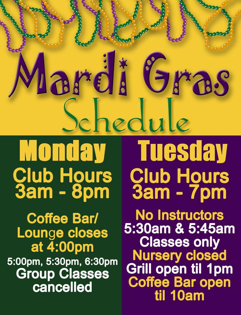 MARDI GRAS GF schedule